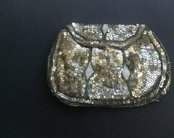 SALE Vintage 1930s Bag, Silver Sequinned Bag, Prom, Period Drama, Evening Bag, Wedding