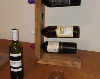 Wood upcycled wine rack, reclaimed wood wine bottle holder