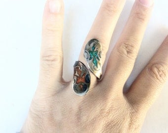 turquoise and coral inlay sterling silver ring  adjustable size signed piece Native American