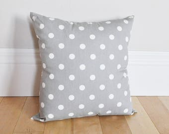 Gray Polka Dot Pillow Cover - Gray and White Pillow - Grey Dotted Pillow Cover- Zipper Pillow Covers- Polka Dot Cushion Covers- Throw Pillow