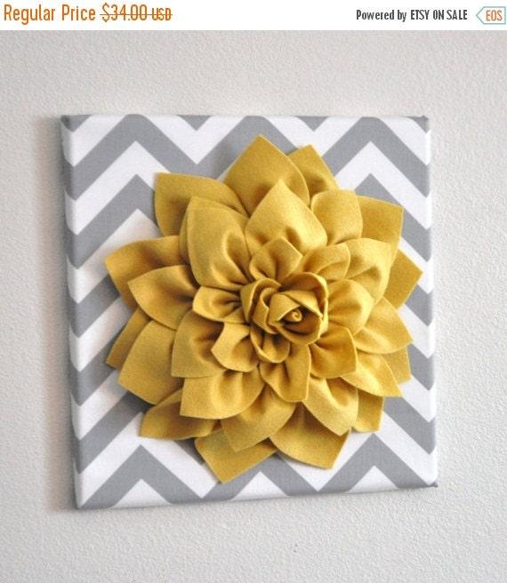 "SALE Wall Flower -Mellow Yellow Dahlia on Gray and White Chevron 12 x12"" Canvas Wall Art- 3D Felt Flower"