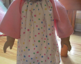 Pink Polka Dot Peasant Dress, flannel nightgown for 18 inch doll