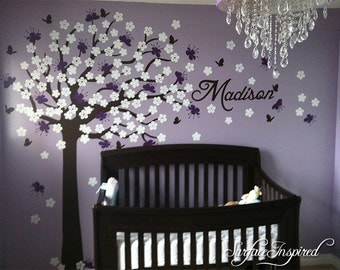 Nursery Wall Decal. Large cherry blossom tree wall decal for baby nursery. Name decal included. Choose any name you want! 1016