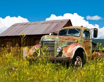 Old International Bk-10 Pickup - vintage memorabilia Rusty Green gold farm Truck in Summer Mountains New Mexico field giclee photograph