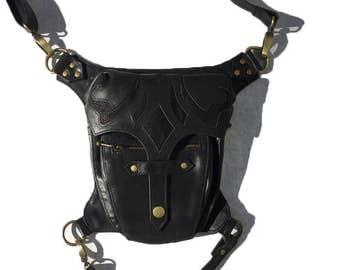 Ranger Leg Holster Black and Antique Brass Steampunk Dieselpunk  Utility Belt Bag