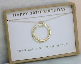 30th birthday gift, 30th gift for daughter, necklace for 3 sisters, 3 best friends gift - Lilia