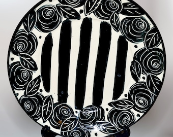 Mary Rose Young rose stripe plate/ black and white pottery