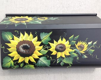 ws hand Painted wall mount mailbox, SUNFLOWERS, horizontal or vertical, black or white or cream mailbox decorative mailbox