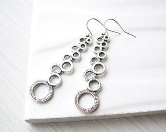 Long Silver Dangle Earrings, Modern Jewelry, Geometric, Contemporary, Metal, Nickel Free Titanium Option