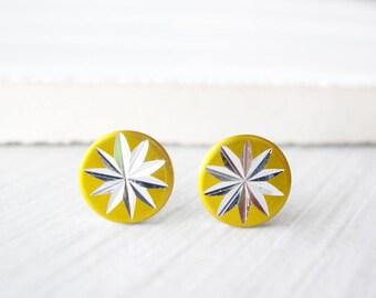 Gold Post Earrings - Minimalist Jewelry, Titanium Studs, Silver Starburst, Atomic Era, Mid Century Modern, Dainty, 1950s, Space Age