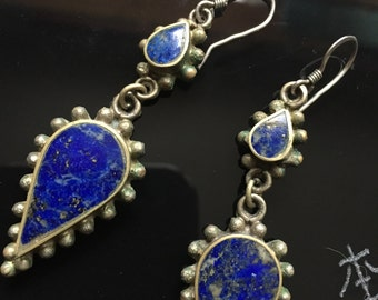 Vintage Lapis Lazuli Bohemian Gemstone Dangle Earrings Sterling Silver Hooks