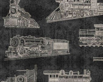 Full Steam Ahead from Quilting Treasures - Full or Half Yard Train Locomotives on Charcoal Gray