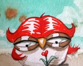 Love Owl. Signed Print of an Original Watercolor Painting.