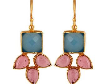 minimal jewelry,Minimalist earrings,Silver 925 Chalcedony Earring,SterlingSilver Earrings,Aqua blue Gemstone Earring,Birthstone jewelry