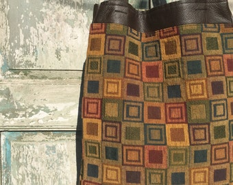 Handmade Brown Leather with  Orange and Navy Blue Textile French Market Bag, Knitting and Yoga Bag