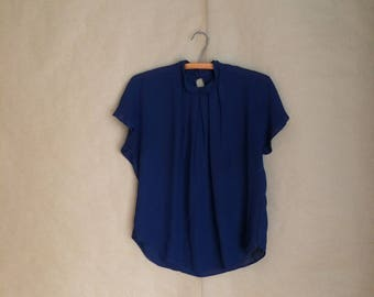 vintage navy blue secretary blouse / pleated neck line / sheer / 80's style