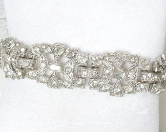 STUNNING Vintage 1920s 1930s Art Deco Bracelet, Bridal Silver Wide Link Clear Pave Rhinestone Bracelet,Great Gatsby Jewelry Flapper Jazz Age