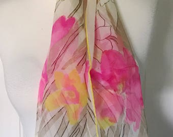 Vera Vintage Geometric Sheer Watercolor Scarf