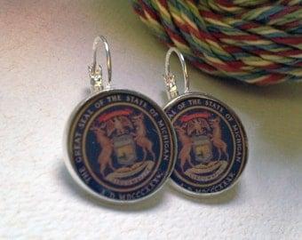SALE!!!! Michigan State Seal - Short Dangle Photograph Earrings.