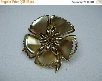 SALE 50% OFF Vintage Large Goldtone  Flower Brooch-Riveted