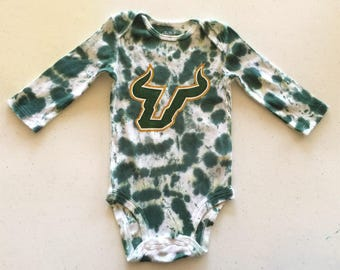 University of South Florida onesie, Socks, Tie Dye & Hand Painted, USF Bodysuit, USF Bulls Baby Gift, USF Baby Outfit