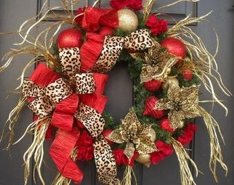Leopard Wreath, Christmas Wreath, Christmas Door Wreath, Animal Print Christmas Decor, Cheetah Wreath