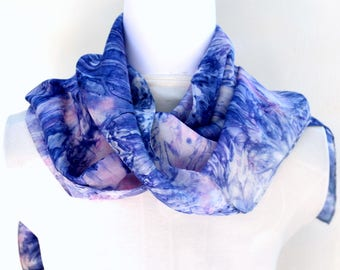 Hand dyed Silk Scarf,  Silk Habotai Scarf, Gift for Her, Ready to ship, 59 x 11 inches, SallyAnnesSilks on Etsy S158