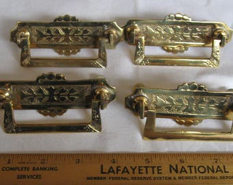 Embossed Brass Drawer Pull Handles Set Of 4  Hardware Altered Art Assemblage Piece Restoration Hardware Pair