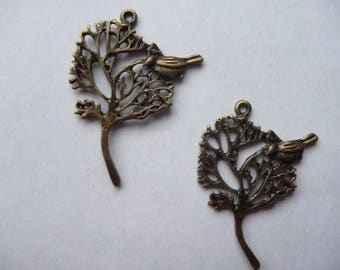 Pendant, 42x30mm Bird in a Tree Antique Bronze Pendant. Pack of 2.