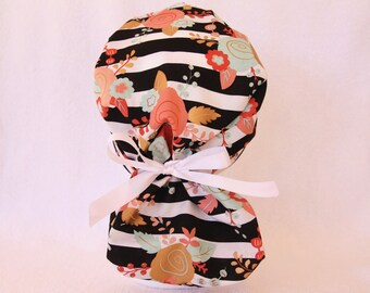 Scrub Ponytail Hat - Medical Pony Tail Cap, Black and White Stripes with Floral
