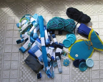 BLUE and Turquoise Sewing Notions (USA) Haberdashery (UK) Grab Bag