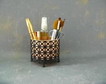 Vintage Mesh vanity container, black pink, mid century, container,  make-up storage, planter