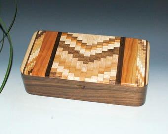 Upcycled Cutting Board & Walnut Handmade Wooden Box With Tray by BurlWoodBox - Wood Jewelry Box, Wood Stash Box, Wooden Jewelry Box, Boxesy