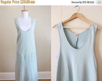 30% OFF SALE Vintage Maxi Dress 90s Grunge Aqua Blue Loose Jumper Medium Large