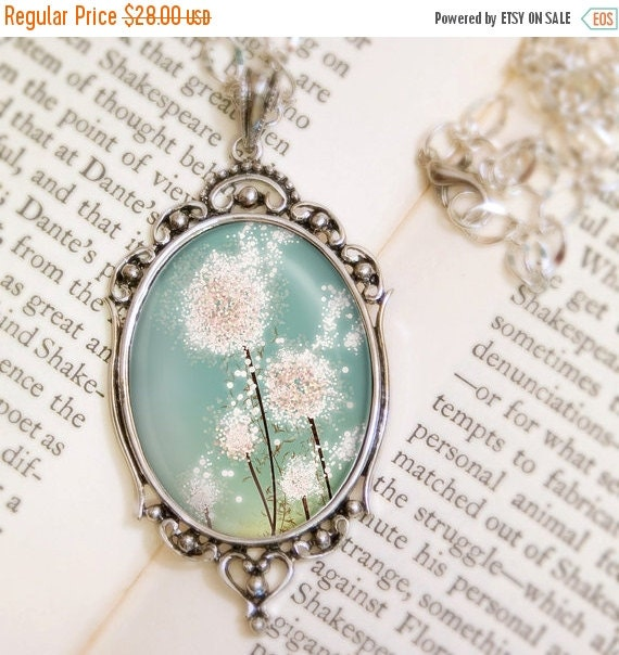 Christmas Sale Dandelion Necklace - Silver Pendant - Perennial Moment - Wearable Flower Art with Silver Chain Pendant Jewelry