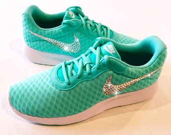 Bling Nike Shoes with Swarovski Crystals * Nike Tanjun SE Hyper Turquoise / White Bedazzled Swooshes