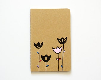 Small Notebook, Tulips, Illustration, Scandinavian, Stocking Stuffer, Gift for Her, Lined Notebook, Pocket Journal, Idea Notebook