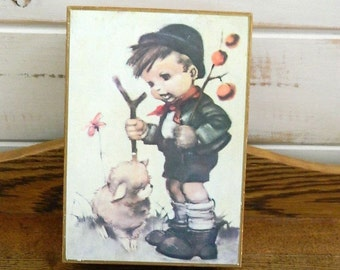 Vintage Toyo Japan Music Jewelry Box - Hummel's Little Shepherd Boy - Wood Music Trinket Box