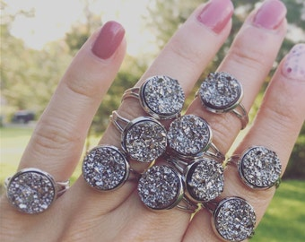 PICK 3-7 Faux Druzy Rings / Wedding Shower Bridesmaids Bridal Party Favors Gifts Boho Themed Team Group on a Budget Tea Party Bohemian