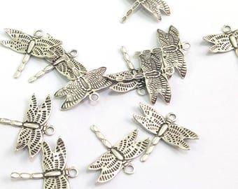 20 Silver Charms Antique Silver Plated Brass Dragonfly  (15x15 mm)  G7695