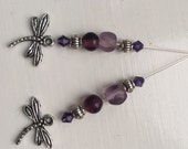 Silver and Purple Dragonfly Earrings