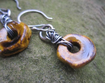 Earthy Ceramic and Sterling Silver Earrings