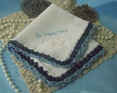 For Happy Tears Handkerchief, Hanky, Hankie, Hand Crochet, Lace, Something Blue, Peach, Heart, Personalized, Embroidered, Ready to ship