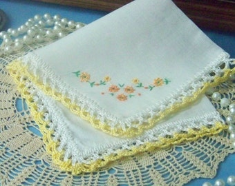 Yellow handkerchief, Hanky, Hankie, Lace, Hand Crochet, Lacy, Embroidered, Floral, Ladies, Women's, Ready to ship