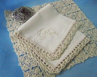 Gift for Mom, Mom Handkerchief, Hanky, Hankie, Hand Crochet, Lace, Beige, Mother, Mother of the Bride, Mother of the Groom, Ready to ship