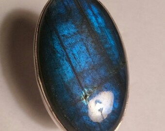 XL Oval Labradorite Sterling Silver Ring