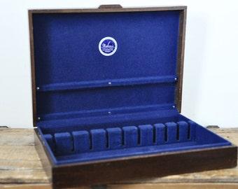 Vintage Naken's Wood Silverware Chest Tarnish Resistant Empty Flatware Box Royal Blue Liner