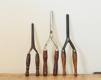 Antique Curling Iron Lot Set of 3 Primitive Hairdressing Tools Instant Collection Three Metal and Wood Handle Irons Early 1900s