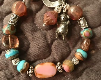 Lamwork, czech glass, bali silver bracelet