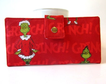 Handmade wallet for women, bifold - How the Grinch Stole Christmas - red - ready to ship - ID clear pocket - gift ideas for her